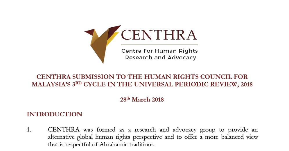 Submission to the United Nations Human Rights Council for  Malaysia's 3rd Cycle of Universal Periodic Review, 2018
